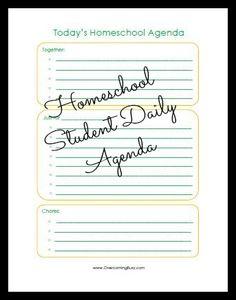 daily homeschool student agenda printable from overcomingbusy.com