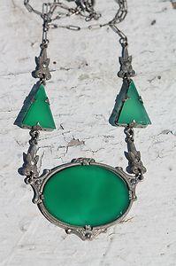 Vintage Jugendstil Art Deco 925 Sterling Silver Green Chrysoprase Necklace | eBay