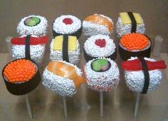 Sushi Cake Pops. these are adorable!!!!!! i don't think my cake pop decorating will ever get this nice