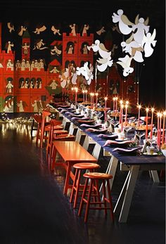 Royal Copenhagen's traditional christmas table 2014, designed by Danish lifestyle expert Anne Glad - using ester & erik candles.
