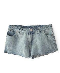 Mid-rise Waist Lace Denim Shorts