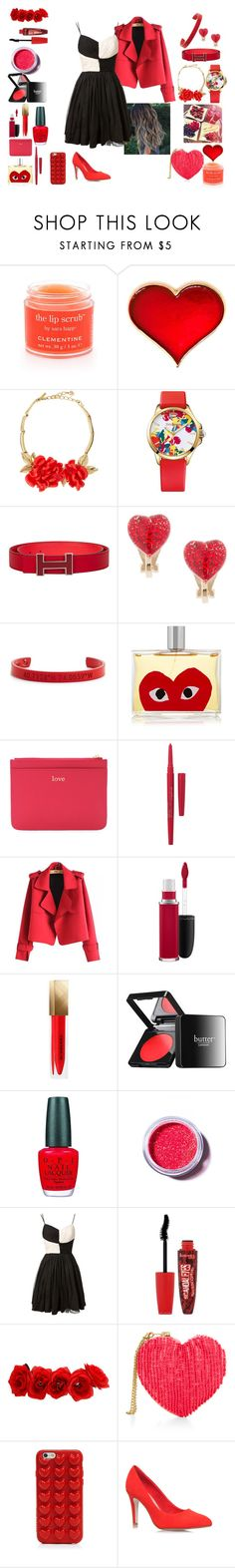 """Black White and Red all over"" by red-queenlove on Polyvore featuring Sara Happ, Oscar de la Renta, Juicy Couture, claire's, Coordinates Collection, Comme des Garçons, Forever 21, Smashbox, Chicnova Fashion and MAC Cosmetics"