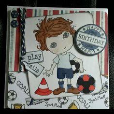 Scruffy little kitten, football, handmade boy card. Soccer