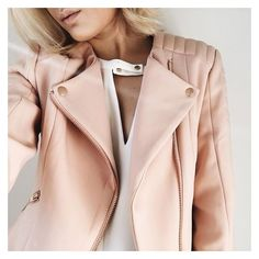 Neutral Jackets ❤ liked on Polyvore featuring outerwear, jackets and pink jacket