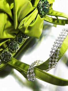 Green satin bag and diamonds ~ Van Cleef & Arpels