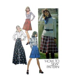 "Palazzo Pants Culottes and Skirt Simplicity 6626 Misses' Size 12 Waist 26 1/2"" Vintage 1970's Sewing Pattern Uncut"