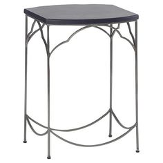 Simple Modern Classic Ebony Nickel End Table | Kathy Kuo Home