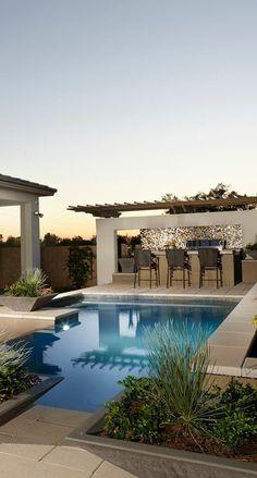 Den Pool Mit Feuerstellen Kombinieren | Garten | Pinterest ... Wirkungsvolle Feuerstelle Poolbereich