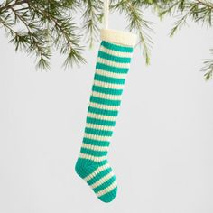 Knit Striped Stocking Ornaments Set of 3 - v1