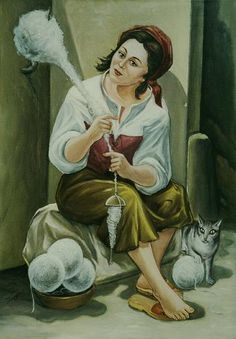 Look at the way the wool is being held - a wall hook serves as the distaff. Eliseo Locci, contemporary Italian painter living in Sardinia, La Filatrice - Spinning Wheels, Spinning Yarn, Drop Spindle, Knit Art, Romantic Images, Italian Painters, Pictures Of People, Working Woman, Textile Art