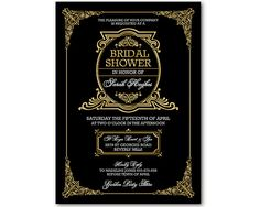Black and Gold Gatsby Invitation Art Deco by WestminsterPaperCo