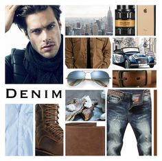 """""""Dark Denim"""" by leegal57 ❤ liked on Polyvore featuring American Eagle Outfitters, Danner, Viktor & Rolf, Incase, Uniqlo, Ray-Ban, French Toast, Levi's, men's fashion and menswear"""