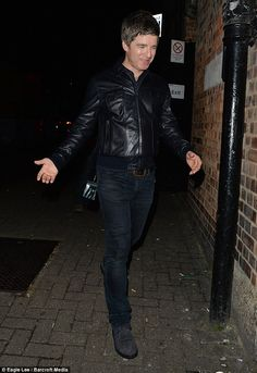 Noel Gallagher looks in giddy spirits on date night with wife Sara Have A Great Night, Noel Gallagher, West London, Rock Music, Night Out, Punk, Leather Jacket, Singer, Oasis