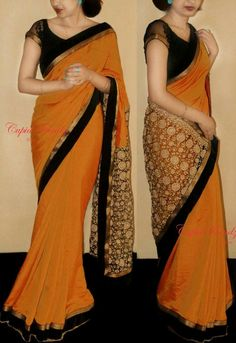 RE - Fancy Orange paper silk fabric Party wear Saree Simple Sarees, Trendy Sarees, Stylish Sarees, Fancy Sarees, Party Wear Sarees, Pattu Saree Blouse Designs, Saree Blouse Patterns, Chiffon Saree, Crepe Saree