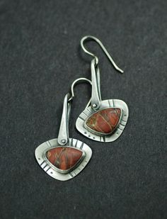 Earrings | MaggieJs Designs.  Sterling silver and Red Creek Jasper.