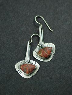 Earrings | MaggieJs Designs.  Sterling silver and Red Creek Jasper.