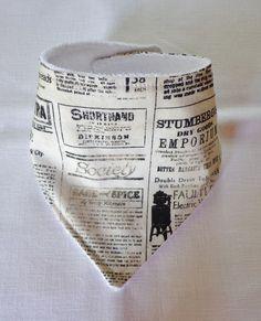 Baby Toddler  Bandana Dribble Bib Handmade Vintage Newspaper Catalog Fabric #Handmade