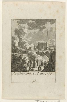 Anonymous   Beschieting van Hattem, 1786, Anonymous, 1786 - 1799   Beschieting van Hattem door de stadhouderlijke troepen op 5 september 1786. Gemerkt onderaan: 52.