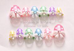 Kawaii nails 3D nails pastel fairy kei polka dot bows by Aya1gou, $22.50