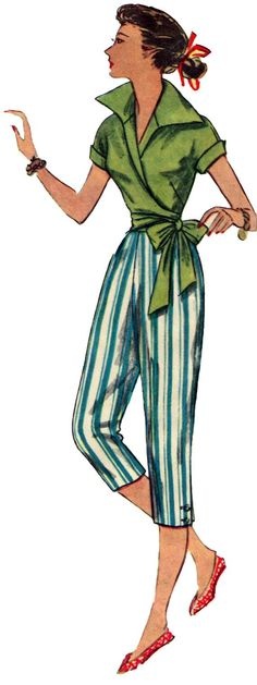 Picture from a Simplicity pattern from back in the 1950's.  But now that we are all wearing peddle pushers again---and calling them capris-- this would be really cute outfit.