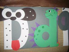 D for Dog and Dinosaur: Preschool Alphabet Letter Craft Alphabet Letter Crafts, Abc Crafts, Alphabet Phonics, Teaching The Alphabet, Alphabet For Kids, Preschool Letters, Alphabet Book, Letter Art, Kids Crafts