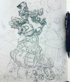 """""""I worked on this one a bit more, I have been terrified of placing characters in environments for some reason #marchofrobots2016 #MarchOfRobots #sketch"""""""