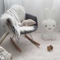 this is what I want in our nursery one day. Eames rocking chair and that lil bunny there! Eames Sofa, Eames Rocking Chair, Rocking Chair Nursery, Outdoor Rocking Chairs, Eames Rocker, Eames Rar, Eames Chairs, Baby Boy Rooms, Baby Bedroom