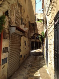 A street in old Tripoli, Lebanon in a moment of calm.