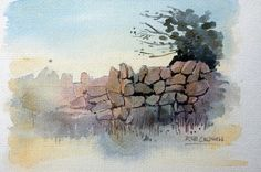 Stone wall study by RobertColdwellArt on Etsy