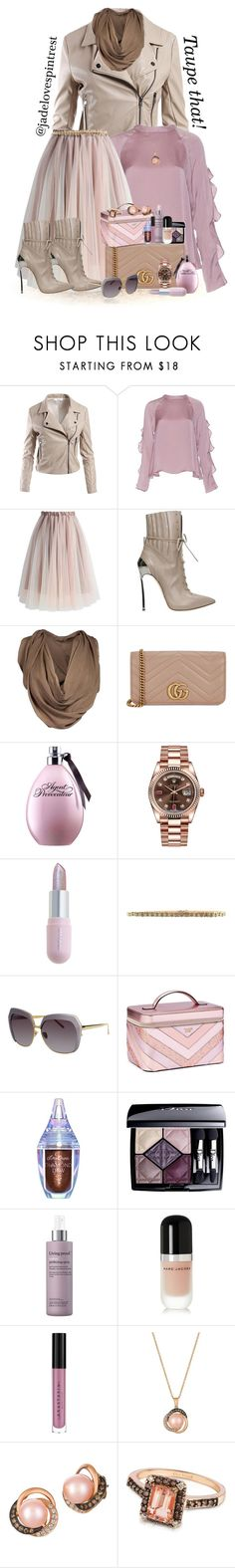 """Taupe That!"" by jadelovespintrest ❤ liked on Polyvore featuring Sans Souci, NLY Trend, Chicwish, Casadei, Maison Margiela, Gucci, Rolex, Winky Lux, Etienne Aigner and Linda Farrow"