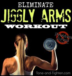 Eliminate arm jiggle with this amazing arm workout with weights! #fitness #exercise from Tone-and-Tighten.com