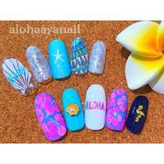 WEBSTA @ alohaaya26 - new nail*今日は大洗まで茨城好きサーフィンしてあさり?とって海に投げられて、楽しかった〜*#ネイル#nail#nails#nailart#shell#aloha#starfish#シェル#アロハ#ヒトデ#ハイビスカス#フラミンゴ