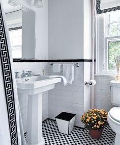 greek key trim, black and white bathroom