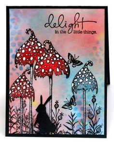 Magic mushroom caps blank card fantasy garden by ThePurpleTable Stuffed Mushroom Caps, Stuffed Mushrooms, Lavinia Stamps Cards, Rubber Stamp Company, Paper Art, Paper Crafts, Tampons, Fairy Art, Art Plastique