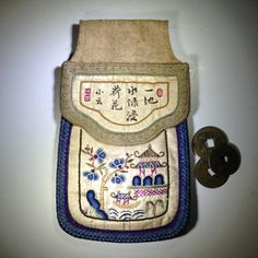 Vintage Chinese Embroidered Coin Purse Ivory by BluePearEmporium