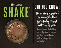 """You might be asking yourself """"Why do I need It Works! Shake""""❓ The answer......Because you need protein‼️ Did you know there are nine essential amino acids that your body can't make that you need for everything from immune function, metabolism and weight management to muscle repair, growth, development and performance ? Now the only question is which flavor to try first! Rich Chocolate, or Creamy Vanilla?"""