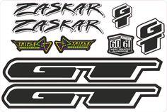 GT ZASKAR L.E STICKER RETRO MOUNTAIN BIKE FRAME DECAL SET rts lts black white…