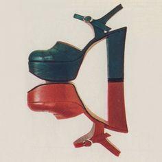 1973 | Sergio Rossi platform shoes  [When it was based in] San Mauro Pascoli | Forlì-Cesena Mode Vintage, Vintage Shoes, Vintage Outfits, Vintage Fashion, Vintage Style, Patti Hansen, Lauren Hutton, Pantalon Elephant, Flower Power