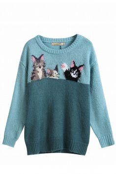 Nostalgic Kitten Patterned Sweater