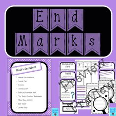 This product includes materials that can be used to teach about end marks (exclamation mark, question mark, and period). It includes common core standards, a lesson plan, posters, a sentence sort, an end mark scavenger hunt, practice worksheets, a whole class activity, an exit ticket, and answer keys. This is a great product for first, second, and third grade!