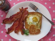 Breakfast in Bed: Heart-Shaped Egg in a Hole with a side of Oven-Baked Bacon - Perfect way to say I love you on V-day or any day.