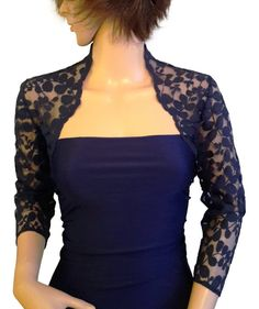 Rich dark Navy leaf design lace bolero This is a lovely dark navy Ideal for Weddings , events or a special evening The sizes are in UK , if you need any help with the sizing please ask