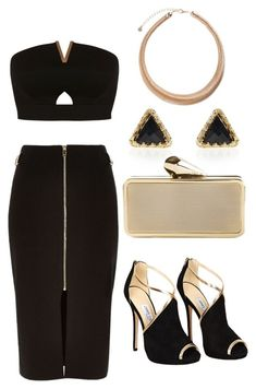 """Black and Gold"" by shauna-power ❤ liked on Polyvore featuring River Island, Miss Selfridge, Jimmy Choo, KOTUR, Pieces, drinks, valentinesday, goingoutwear and ValentinesLook"