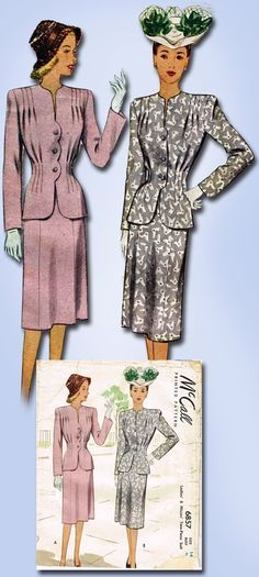 1940s Original Gorgeous McCall Darted Suit Pattern Sz 32 B | eBay