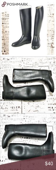 Dafna Tall Rubber Riding Boots Black Beautiful tall rubber riding boots by Dafna. Made in Israel. Perfect for horseback riding or just to wear as rain boots. Style #8003. In overall excellent used condition. Gorgeous paired with leggings and an oversized sweater or riding pants and a crisp blazer. Dafna Shoes Winter & Rain Boots