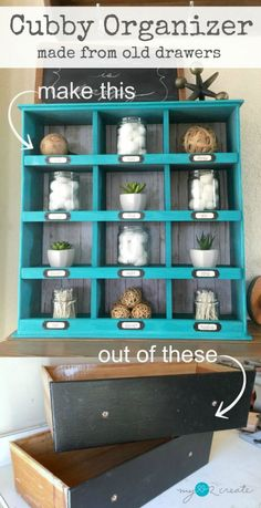Organizer made from drawers Don't throw out your old drawers! Repurpose them into a cute cubby organizer with this easy tutorial at throw out your old drawers! Repurpose them into a cute cubby organizer with this easy tutorial at Refurbished Furniture, Repurposed Furniture, Shabby Chic Furniture, Antique Furniture, Diy Furniture Repurpose, Dresser Repurposed, Wooden Furniture, Country Furniture, Modular Furniture