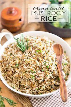 Pea Recipes, Lentil Recipes, Side Dish Recipes, Vegetable Recipes, Veggie Meals, Dinner Recipes, Mushroom Side Dishes, Pasta Side Dishes, Mushroom Rice