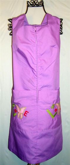 """$19.99 Vintage Retro  1960's purple """"love"""" embroidered zip up house dress"""