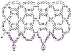 Schéma du Collier Netting Rose en Perles
