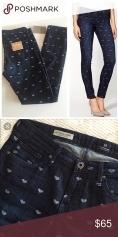AG Stevie Ankle Jeans Heart Print Excellent condition, barely worn! Anthropologie Jeans Ankle & Cropped